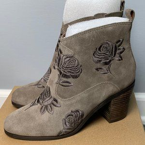 Lucky Brand NEW Booties Size 10 Brown Floral Embroidery Leather Suede